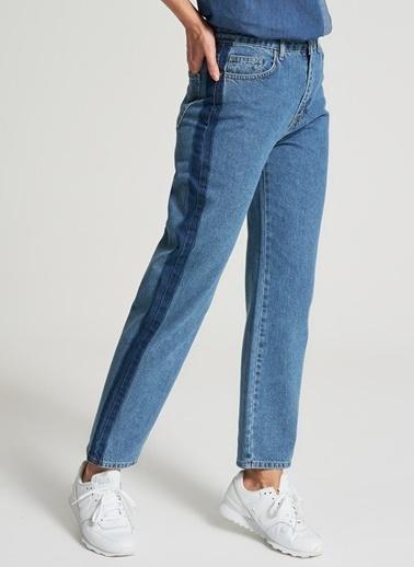 Pi π Yan Şerit Detaylı Jean Pantolon Mavi